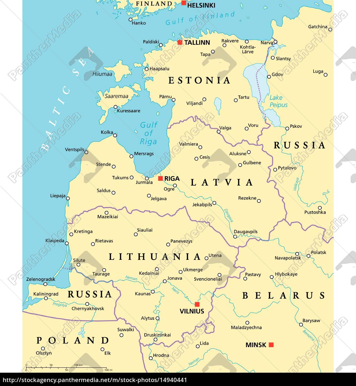 Baltische Länder Politische Karte Stockfoto 14940441