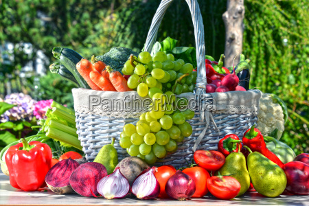 fresh organic vegetables and fruits in