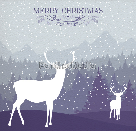 merry christmas winter card holiday deer