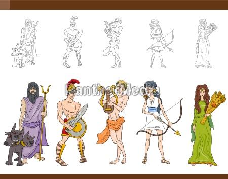griechischen goetter gesetzte abbildung