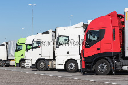 trucks are standing in a row