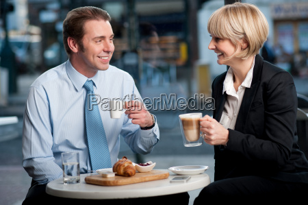 corporate people at cafe