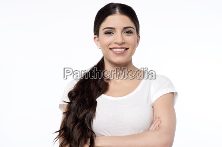 pretty smiling woman over white