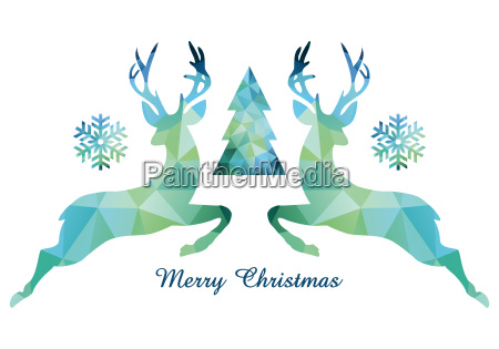 christmas card with deer and tree