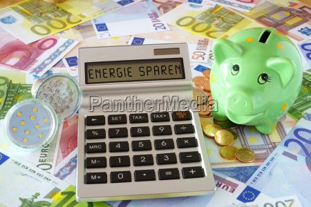 die woerter energie sparen auf display
