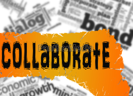 word cloud with collaborate word on