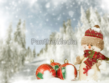 christmas background with snowman in the