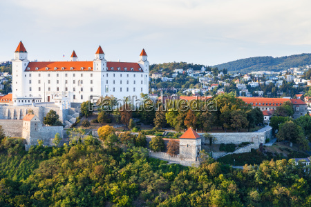 cityscape of bratislava city with castle