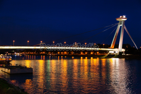 night illumination of danube river from