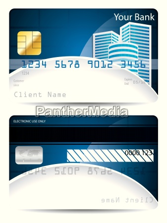 credit card template in blue white