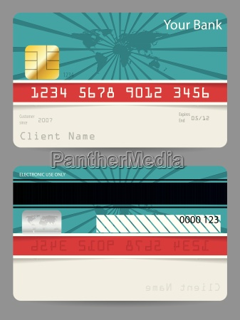 credit card in turquoise and red