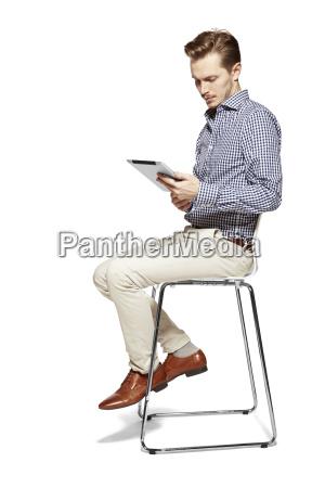 looking at tablet