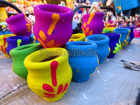 colorful traditional pots
