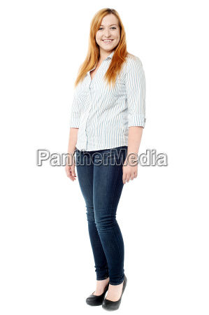 pretty young woman posing over white