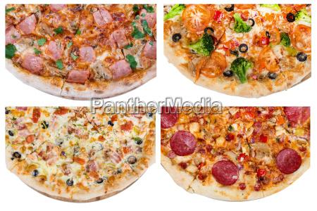 set, mit, verschiedenen, scheiben, von, pizzen - 15174411