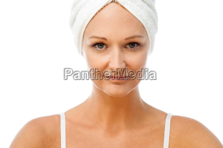 spa woman with towel wrapped