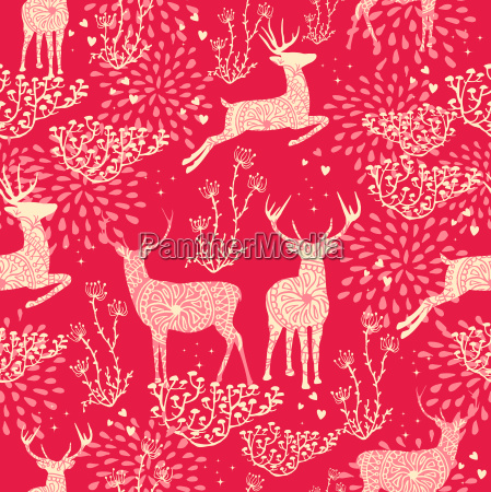 christmas seamless pattern deer nature elements