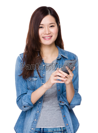 asian young woman use of mobile