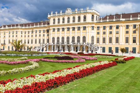 flowers in garden of schonbrunn palace