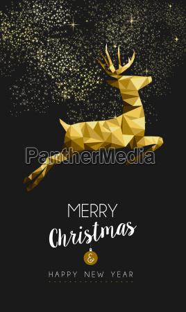 frohe weihnachten frohe neujahr gold hirsch