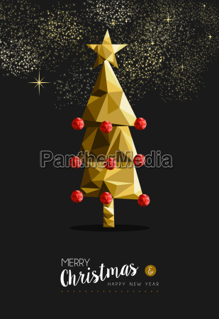 merry christmas new year golden tree