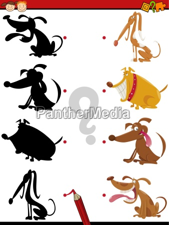 shadow task with dogs for kids