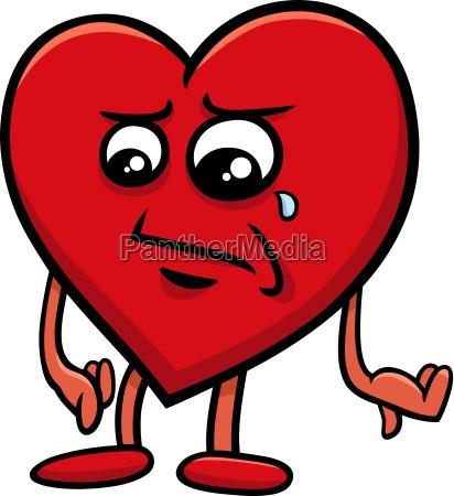 sad heart cartoon character