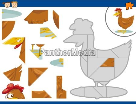 cartoon hen jigsaw puzzle task