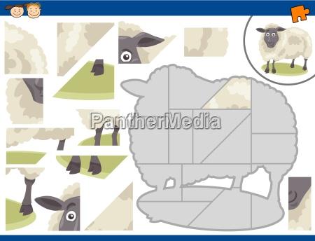 cartoon sheep jigsaw puzzle task