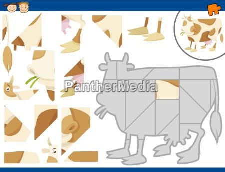 cartoon cow jigsaw puzzle task