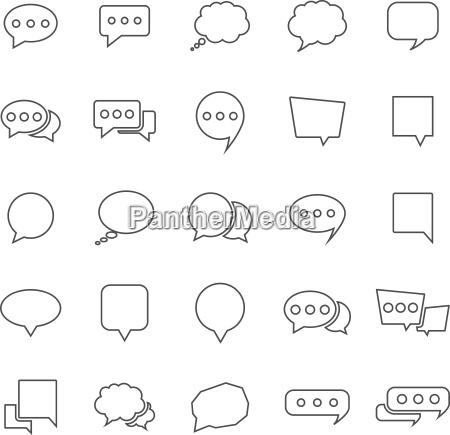 speech bubble line icons on white