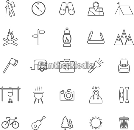 trekking line icons on white background