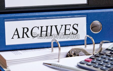 archives blue binder in the
