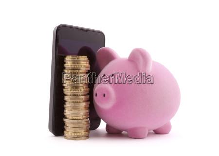piggy bank mit handy und euro