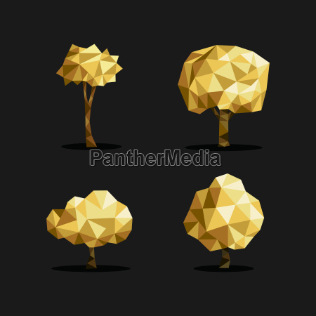 gold low poly tree triangle set