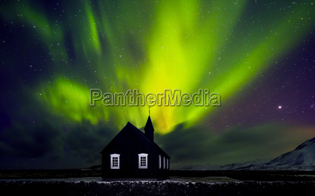 beautiful northern light over church