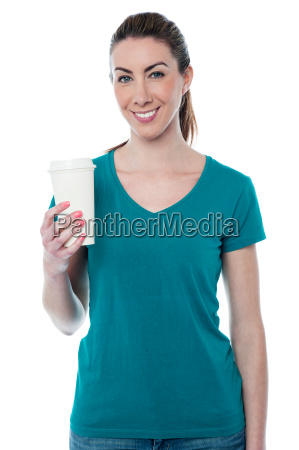 young woman having a coffee