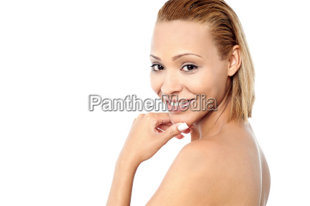 pretty unclad woman posing over white
