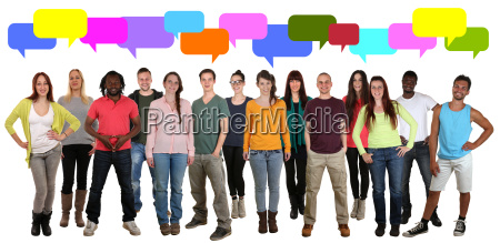 young people talk multicultural group of