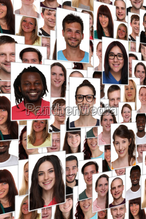 background happy multicultural young people laughing