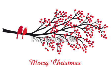 christmas card with red berries and