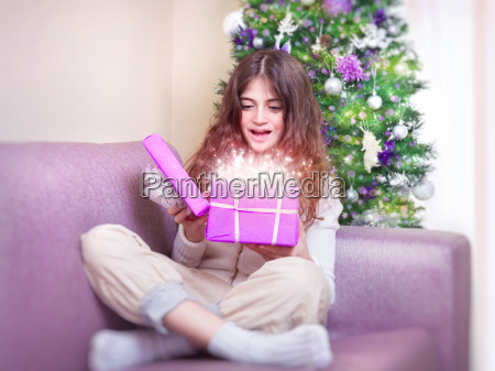 happy girl receive giftbox