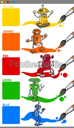 primary colors with cartoon robots