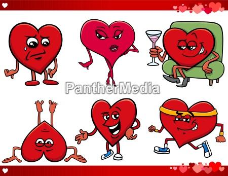 valentine and love cartoon set