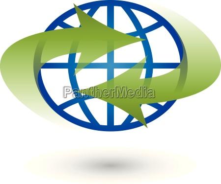 erde und pfeile logo globus weltkugel