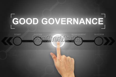 hand clicking good governance button on