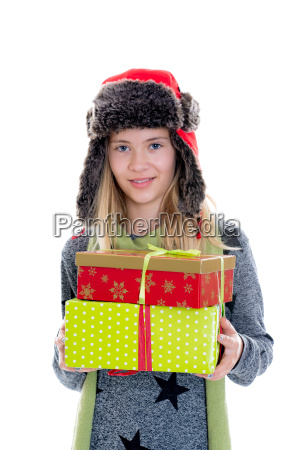 nice blond girl with gift boxes