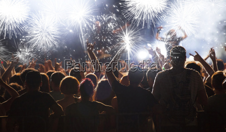 new year concept cheering crowd