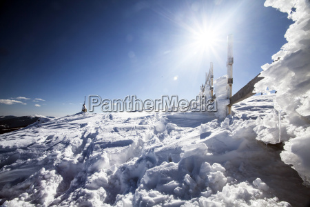 winter background with snow and ice
