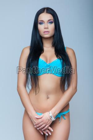 attractive brunette sexy girl in lingerie